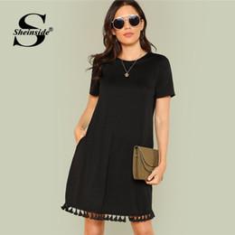 72e2bf8166f64 Sheinside Shift Elbise Ofis Bayanlar Workwear Cepler Püskül Zarif Elbise Yaz  Kısa Kollu Düz Rahat Kısa Elbise Y19012102