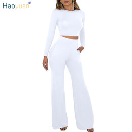 white short women boots Promo Codes - HAOYUAN 2 Piece Outfits for Women Clothes Matching Set Crop Top and Boot Cut Pant Suits Fall Winter Sexy Club Two Piece Sets