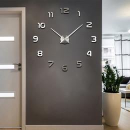 moderne metalluhr Rabatt 3D DIY Wanduhr Modernen Stil 2019 Neue Saat Reloj De Pared Metall Kunst Uhr Wohnzimmer Acryl Spiegel Uhr Horloge Murale