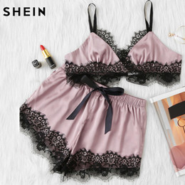 2bbe5faec2 SHEIN Pink Womens Pajamas Set Color Block Scalloped Eyelash Lace Spaghetti  Strap Crop Cami Top and Short Pajama Set Y19042803