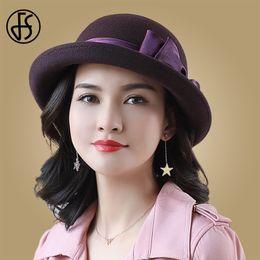 Фиолетовая фетровая шляпа онлайн-FS женщины 100% шерсть фетровая шляпа с бантом фиолетовый черный котелок фетровая шляпа женский элегантный твердый теплый британский Cap Леди Осень Зима