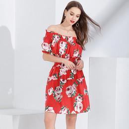 2019 rosa vermelha menina sexy Saias mulheres meninas senhora Vestidos de Verão da Estrela Moda Rose Impressão Sexy elegante novo luxo de alta qualidade vermelho atacado frete grátis