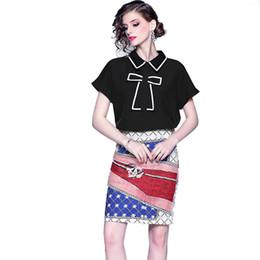 2019 vêtements pour femmes 2 pièces ensemble collier manches courtes en vrac chemise noire impression sac hanche jupe costume femmes deux pièces shorts ensembles plus la taille M-2XL ? partir de fabricateur