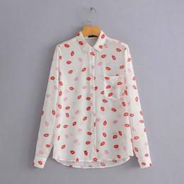 Blusa de labios rojos online-Primavera Casual Sexy Red Lip Print Blusa de bolsillo de un solo pecho de solapa cuello moda mujer camisas 2019 Blusa Streetwear femenino