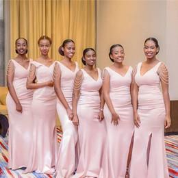 Cordes africaines en Ligne-Robes de demoiselles d'honneur de sirène sud-africaine pour les mariages d'été col en V perles chaîne demoiselle d'honneur robes plus la taille