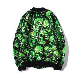 Cráneo chaqueta verde online-2019 Nueva marca Skull Head Couple Uniforme de béisbol Chaqueta de diseñador Chaqueta para hombre para mujer Chaqueta con cremallera Cárdigan Verde Talla grande M-2XL
