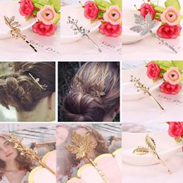 Pin di foglia d'acero online-Moda nuove donne Vintage Maple Leaf Bobby Pin ramo strass metallo pianta capelli pin moda nuovo strass pianta capelli pin