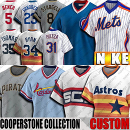 johnny banco Desconto Personalizado Vintage 5 Johnny Bench Jersey Ozzie Smith Jerseys Mike Piazza Nolan Ryan Mike Trout Thomas Stargell Throwback Baseball Jersey