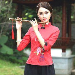 Костюмы чонсама онлайн-Китайская Блузка Guzheng Рубашки Шанхай Восточный Национальный Костюм С Семью Рукавами Cheongsam Футболки С Вышивкой Женщина Chinois
