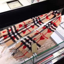 Corações lenços negros on-line-2019 Black Heart Red 100% Cashmere lenço do inverno para mulheres e homens de luxo clássico Cashmere Scarf in Check e coração Cachecóis Designer Infinito