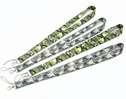Cordones de camuflaje online-¡Caliente! 100 unids (2 colores) camuflaje Lanyards clave Correa para el cuello Tarjeta de identificación Teléfono móvil Correa USB Badge Holder Cuerda Llavero regalos