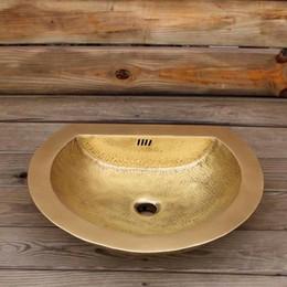 Lavabo lavabo lavabo online-Lavandino del bagno martello a mano Semplice retrò doppio modello di martello art design lavabo per la casa toilette ottone lavarsi le mani lavandino sul bancone