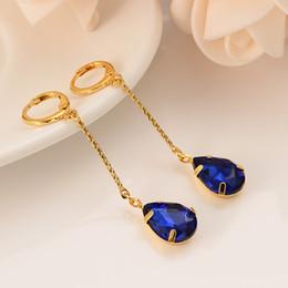 Pendientes de aro de zafiros online-Dubai India Pendientes de oro africanos zafiro cristal azul diamante personalidad borla adolescente Sra. Matrimonio fiesta de compromiso regalos recuerdos