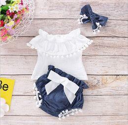 menino calça jeans Desconto 2019 Ins Childrens Clothing Estilo Europeu Crianças New mangas de algodão 3 Pieces Set curva bonita do bebê Set Verão