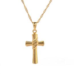 Детские украшения из золота онлайн-Маленький Золотой Крест Ожерелье Женщины Девушки Дети Мини Шарм Подвеска Золотого Цвета Заполнены Ювелирные Изделия Распятие Украшения