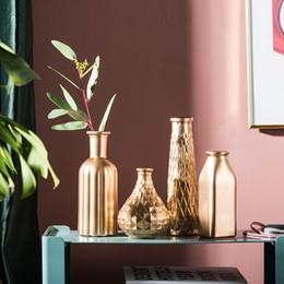 2019 вазы для стола Северный стиль Простая Золотая стеклянная ваза обеденный стол Цветочная композиция Украшения для дома украшения аксессуары вазы для цветов скидка вазы для стола