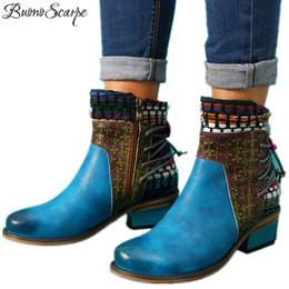 Couro étnico on-line-BuonoScarpe Mulheres Patchwork Tornozelo Étnica Botas De Couro Genuíno Borlas Botas Ocidentais Costura Chunky Heel Cowboy Botas Femininas