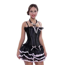 Lace donne sexy corsetto nero Dress su disossata cinghie Overbust con il tutu gonna Plus Size Bustino spedizione gratuita da