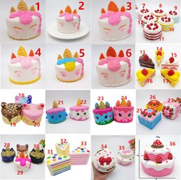 Juguete unicornio gratis online-Squishy CutePink unicorn Toys 11CM Dibujos animados coloridos Unicorn Cake Cake Tail Cakes Kids Fun Gift Squishy Slow Rising Kawaii Squishies Gratis DHL