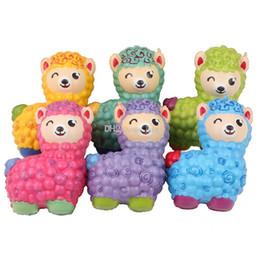 Látex colorido online-Alpaca Squishy Nuevo Colorido Algodón Ovejas Suave Levantamiento Elástico Elástico Apretar Juguetes para Niños Aliviar el Estrés Chuchería juguetes para el día de los niños