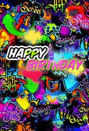 fundo de grafite Desconto Personalizado Imagem Fundo Crianças Feliz Aniversário Graffiti Fotografia Estúdio Backdrops Para Photo Studio Adereços