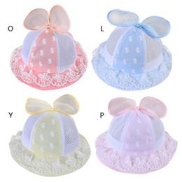 9284cc8c5e5 Cute Summer Mesh Baby Girl Printed Lace Hat Beach Cap Bow Bucket Sun Cap