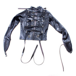 clothes sex for women Promo Codes - PU Leather Straitjacket Strict Kinky Fancy Straight Jacket for Women SM S&M Body Harness Fetish Cosplay BDSM Bondage Gear Sex Toy