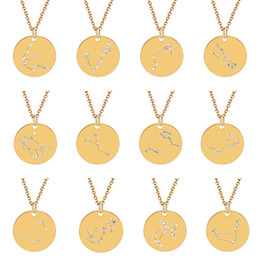 zodiac steel pendant Promo Codes - 12 Zodiac Constellations Necklace Gold for Girl Stainless Steel 20mm Disc Crystal Inlaid Zodiac Necklace Personalized Jewelry Drop Shipping