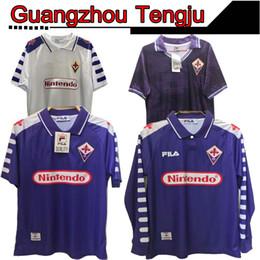2019 entrenamiento de sombrero negro 1998 1999 2000 Retro Fiorentina camiseta de fútbol jerseys BATISTUTA RUI COSTA encargo de la vendimia 92 93 Florencia Inicio Fútbol larga Camisas de Futebol