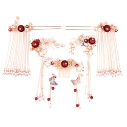 jóia chinesa do cabelo do casamento Desconto Tradicional Chinesa Noiva Cabelo Jóias Headpiece Traje Tassel Hair Pins Phoenix Borboleta Coroa Vara Acessórios Do Casamento
