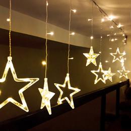 2020 decorações da luz da janela indoor do natal Estrela do Natal EU Plug Janela Showcase LED Cordas Decoração Luz interior LED Início Natal Luz Pendant Lighting Cordas decorações da luz da janela indoor do natal barato