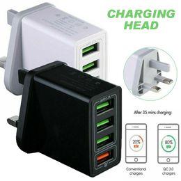 usb nabe angetriebenes ladegerät Rabatt 4-Ports Schnelllade QC USB 3.0 Hub-Ladegerät UK-Stecker-Energien-Adapter für iPhone 8 7 X XR XS Smart-Handy-Ladegerät