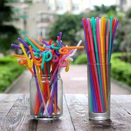 arte de palha de plástico Desconto Início Eco-Friendly 1000 Pcs descartável Cor Arte palha Beba suco de fruta Estilo palhas de Proteção Ambiental partido plástico Coke criativa