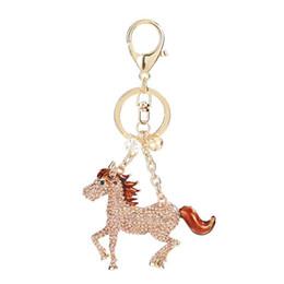 Caballos de imitación llaveros online-Creativo nuevo crystal horse keychain Lindo rhinestone zodiaco llavero del coche bolso femenino colgante llave masculina titular de accesorios accesorio