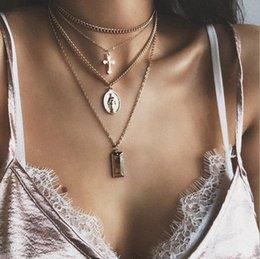 catena del rosario dell'oro 18k Sconti Nuovo modo di arrivo placcato oro multi-strato catena geometrica Rosario Gesù Croce fascino ciondolo catena donna signora lega choker collana gioielli