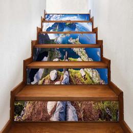 Adesivi murali 3d paesaggio online-3D Landscape Stair Sticker FAI DA TE Arte Parete pittura Scale Adesivi autoadesivi Carta da parati impermeabile Murale Soggiorno camera da letto Decor