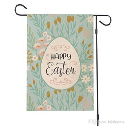 2020 decorazioni pasqua all'aperto Easter Bunny Giardino Bandiera coniglio dell'uovo di Pasqua Festival Outdoor Hanging Banner Bandiere Party Decoration doppio lato di stampa Lino 30 * 45cm decorazioni pasqua all'aperto economici