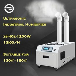 ZS 40Z Industrial Ultrasonic Air Humidifier Double Mist Outlet Diffuser Smart Control Humidity Setting LED Display 12KG H Mist Maker Fogger