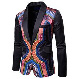 2018 Nueva moda patrón tradicional traje chaqueta Dashiki Blazers hombres estilo africano ropa púrpura negro verde amarillo desde fabricantes