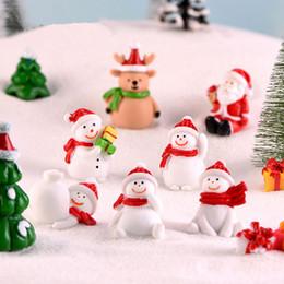 carruseles de juguete Rebajas Miniatura de Navidad muñeco de nieve Figuras Santas muñeco de nieve de Navidad del paisaje del árbol Bonsai musgo Deco Arte de la resina jardín regalo de accesorios CYF3156-2