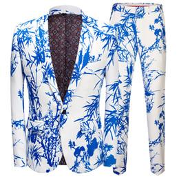 Traje para hombre, estilo chino, patrón de bambú, traje de dos piezas, traje (chaqueta + pantalón), banquete de bodas para hombres vestido informal desde fabricantes