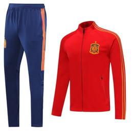 se adequa ao espanhol Desconto 2020 European Cup spanish treino spain mangas compridas casaco de fato de treino terno completo zíper uniformes de futebol Sergio Ramos A.INIESTA