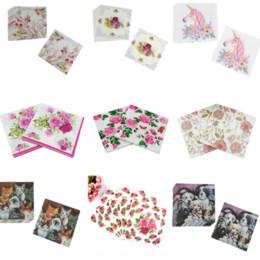 20pcs 27 styles fleur rose animaux servilletas decoupage vintage fête d'anniversaire de mariage serviettes de table en papier tissu imprimé ? partir de fabricateur