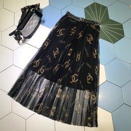 2019 faldas de punto hasta el tobillo Milán Diseñador Mujer Faldas Carta Hermosa Imprimir Pliegues Faldas Mujeres 2019 Primavera verano Faldas 050603