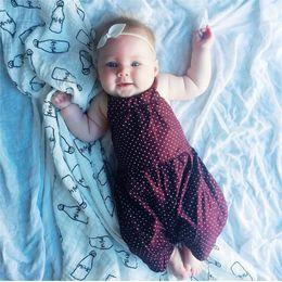 Monos marrones online-INS venta caliente marrón honda dot mono + cinturón de la cabeza 2pcs traje de bebé recién nacido ropa de bebé niñas conjunto