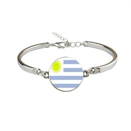 uruguay world cup Coupons - Personalized Uruguay National Flag World Cup Football Fan Time Gem Glass Cabochon Charm Bracelet For Women Men Silver Link Chain Jewelry Hot