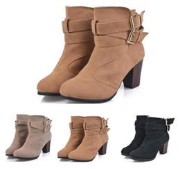 2019 botas de hebilla de cremallera 2019 nuevas botas de tacón alto de gran tamaño europeas y americanas Martin botas con cierre de hebilla con cremallera para mujer