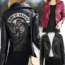 2019 lila leder biker jacke Frauen Sons of Anarchy Lederjacken Winter-dünne Motorrad-Bomber nted Schädel Black Wine Red Serpents Printed Black Wine Re