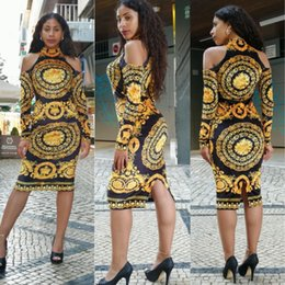 Gola alta de ombro on-line-Mulheres de Luxo Floral Vestido Impresso Gola Alta do Ombro Bodycon OL Vestidos de Trabalho