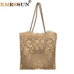 Sacos de compras de seda on-line-XMESSUN 2019 Lace bordado oco Bolsas Moda Mulheres fosco Silk Hot Sale Straw saco de viagem de férias Praia Shopping